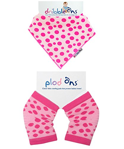 Ons Set (Sock Ons Dribble Ons Baby Neck Drool Bib and Plod Ons Knee Pads Gift Sets (Pink Polka Dot Spots))