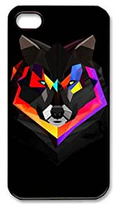 wolf polygon art PC Plastics Hard Back Case Cover for iPhone 4S and iPhone 4 - Black