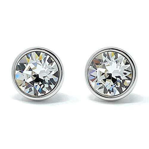 e Long Post Round Stud Earrings with Swarovski Crystal Clusters - Rhodium Plated ()