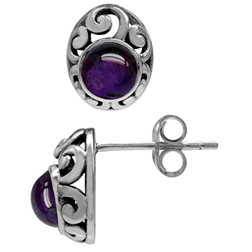 (Petite Cabochon Amethyst 925 Sterling Silver Southwest Style Filigree Stud Earrings)