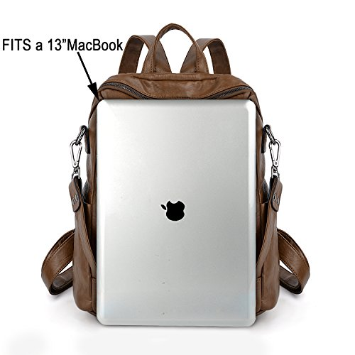 UTO Women Backpack Purse PU Washed Leather Convertible Ladies Rucksack Zipper Pockets Earphone Hole Shoulder Bag Brown by UTO (Image #5)