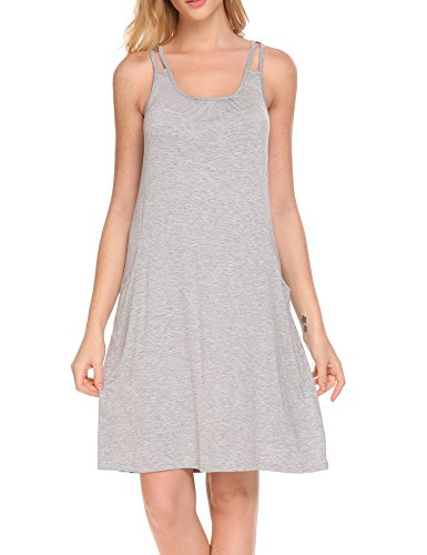 HOTOUCH Women's 100% Cotton Sleeveless Nightshirt sleep dress Grey M (Nightshirt Sleeveless)