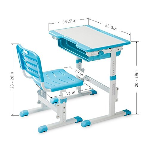 Slypnos Ergonomic Adjustable Children's Desk and Comfortable Chair Set Specially Designed for Children Age 3-14, Blue by Slypnos (Image #7)