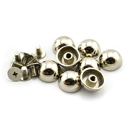 LQ Industrial 8pcs 1/2 inch Silver Purse Handbag Feet Mushroom Type Nailhead Hollow Round Head Stud Metal Philip Screw-Back Spike Studs Rivet Leather Craft DIY 12mm