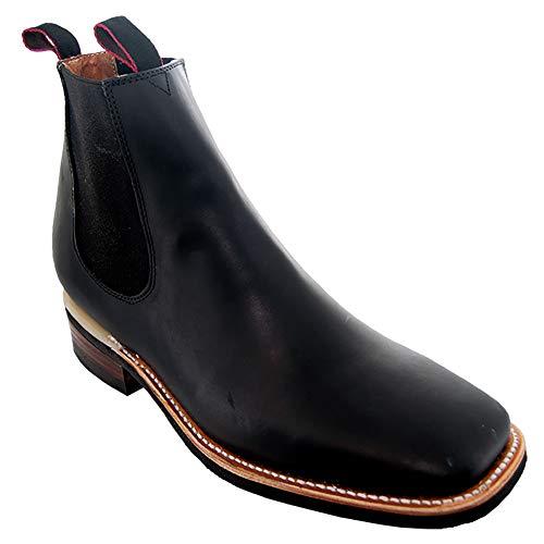 Soto Boots Men's Dallas Square Toe Chelsea Ankle Boots H6001 (11 M US, Black)