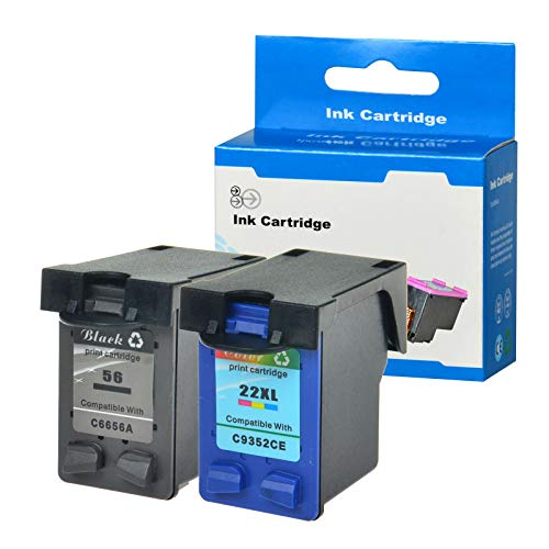 SuperInk 2 Pack Remanufactured Ink Cartridge Replacement for HP C6656AN C9352CE 56 22 22XL (1 Black,1 Tri-Color) Compatible HP Officejet 5605 5607 5608 5609 5610 5615 5679 5680 All-in-One Printer