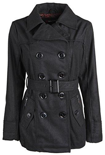 Urban Republic Junior Womens Wool Look Classic Winter Peacoat Jacket with Belt - Black (1X)