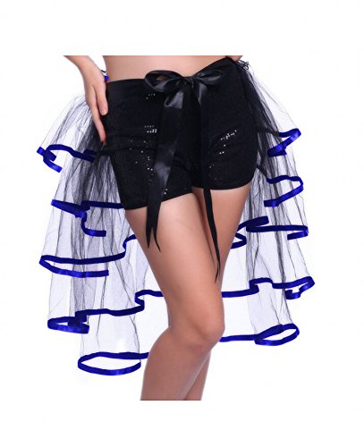 Sweetdresses 5 Tiered Half Burlesque Bustle Party Tutu Skirt Fancy Dress (Standard size, Black/Royal Blue)]()