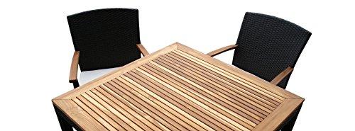 Rattan Gartenmobel Garten Tisch Set Fur 2 Oder 4 Personen Mit 2 Oder 4 Stuhlen Aus Rattan Und Teakholz Elegantes Design Rattan In Dunkelbraun