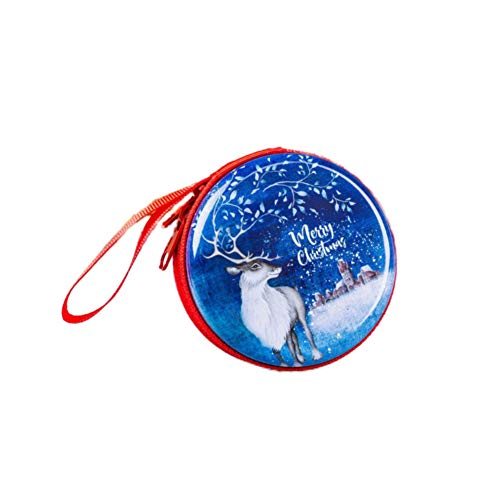 Angmile Christmas Tinplate Coin Purse Mini Carrying Case Headphones Box Portable Storage Pouch with Zipper