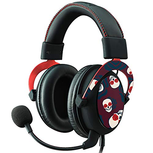 MightySkins Skin for Kingston HyperX Cloud II Gaming Headset - Skulls N Roses | Protective, Durable, and Unique Vinyl Decal wrap Cover | Easy to Apply, Remove, and Change Styles | Made in The USA