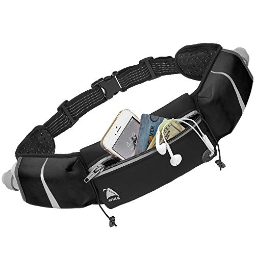 - Athlé Running Belt - 2 10oz Water Bottles, Large Fanny Pack Pocket Fits All Phones and Wallet, Bib Holders, Adjustable One Size Fits All Waist Band, Key Clip, 360° Reflective - Black Speed Sash