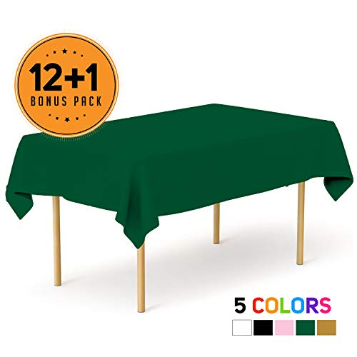 Emerald Green 13 Pack Premium Disposable Plastic Tablecloth 54 x 108 Inch - Waterproof Disposable Tablecloths for Rectangle Tables up to 8 ft in Length - Indoor or Outdoor - Party Plastic Table Cover