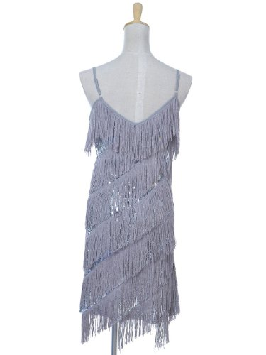 silver Anna 1920 annes Femmes Sangle sans robe dos de Frange paillettes Kaci soire des moderne Mini UCxqZUB