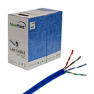 NavePoint CAT5e UTP Ethernet Network Bulk Cable - 1000 Ft Blue