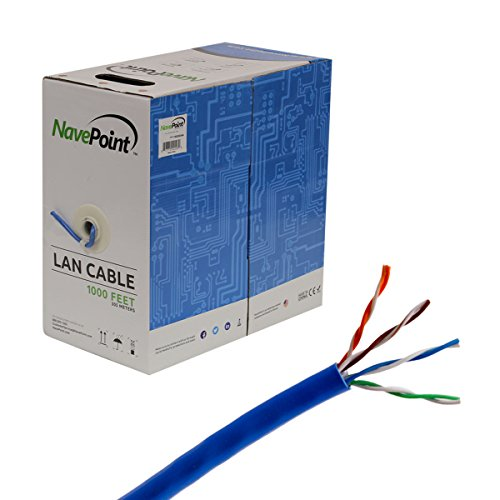 Color Cat5e Blue (NavePoint Cat5e (CCA), 1000ft, Blue, Solid Bulk Ethernet Cable, 24AWG 4 Pair, Unshielded Twisted Pair (UTP))