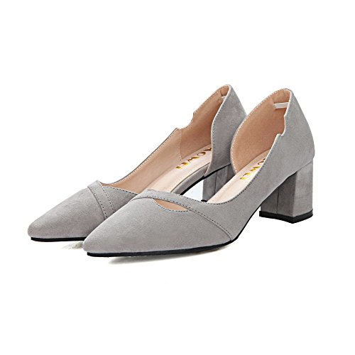 AalarDom Womens Imitated Suede Frosted Solid Pull-On Pointed-Toe Kitten-Heels Pumps-Shoes Gray-hollowout mm27I7