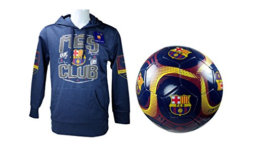 FC Barcelona Official Soccer Hoodie Jacket & Size 5 Ball Combo Adult 3 XL by F.C. Barcelona