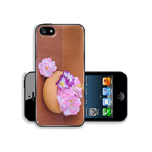Luxlady Premium Apple iPhone 5 iphone 5S Aluminium Snap Case IMAGE 34998918 pink and purple artificial flowers are in pottery for decoration home