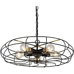 "BTExpert 5077 Vintage Matte Finish Industrial Chandelier 5 Lights Fan Style Cage Metal Home Gage 20"" Hanging Pendant, Black"
