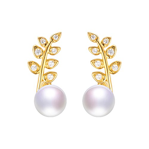 SuperLouisa Fashion the listing silver stud pearl earrings jewelry with leaf shape - With Prices Tiffany Website