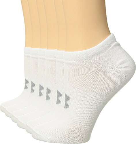 Under Armour Women's Essential No Show Socks (6 Pack), White (1259396-102) / Anthracite/White, Medium