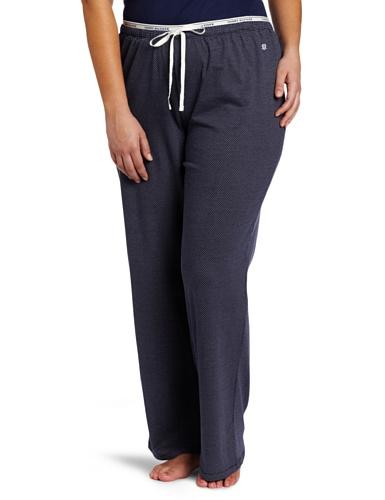 Tommy Hilfiger Women's Plus-Size Logo Waistband Pajama Pant, Navy Dot, 3X