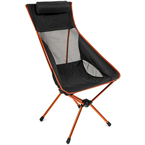Cascade Mountain Tech Outdoor High Back Lightweight Camp Chair with Headrest and Carry Case - Black