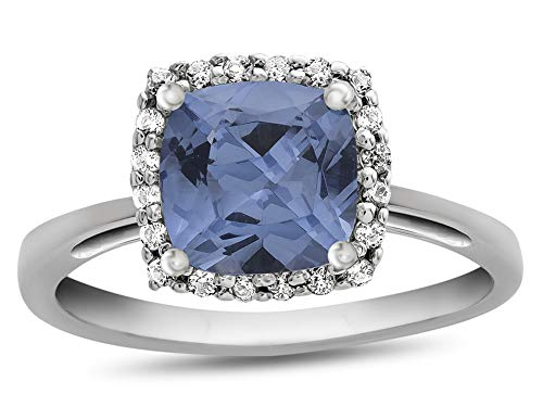 Finejewelers 10k White Gold 6mm Cushion Simulated Aquamarine with White Topaz accent stones Halo Ring Size 6