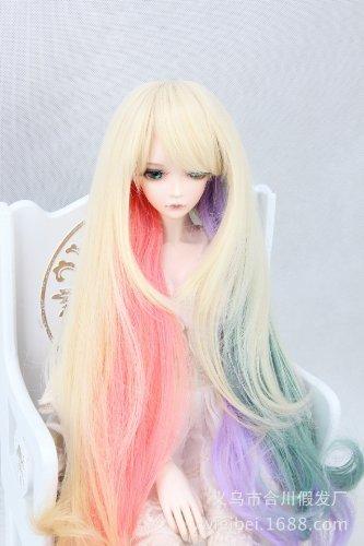 (15-16cm) 1/6 BJD Doll YOSD Fur Wig Dollfie / Lolita Rainbow Long Wavy Hair / (Doll Fur Wig)