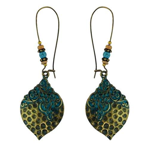 SM SunniMix Women Bohemia Retro Green Shell-leaf Shaped Earring Ethnic Ear Pendants Jewelry Gift - Green-B