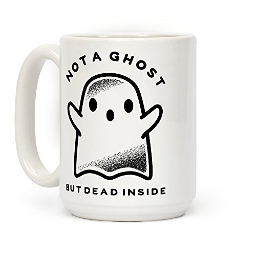 LookHUMAN Not A Ghost White 15 Ounce Ceramic Coffee Mug ()
