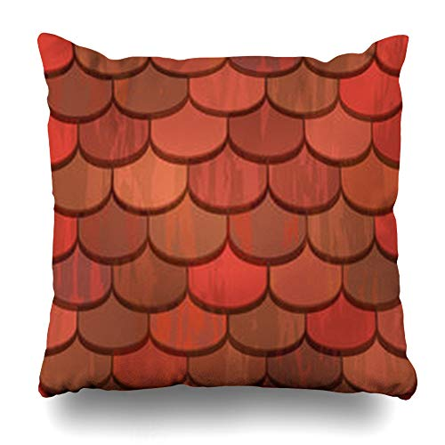 Pandarllin Throw Pillow Covers Classic Orange Pattern Red Clay Roof Tiles Abstract Rooftop Architectural Built Ceramic Exterior Cushion Case Home Decor Sofa Square Size 18 x 18 Inches Pillowcases