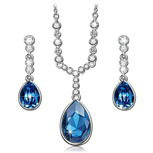 QIANSE Angle Tear Blue Pendant Necklace Dangle Earrings Swarovski Crystals Fashion Jewelry Set for Women, Christmas Gifts Birthday Gifts for Women Girlfriend Wife Mom Daughter Sister ()