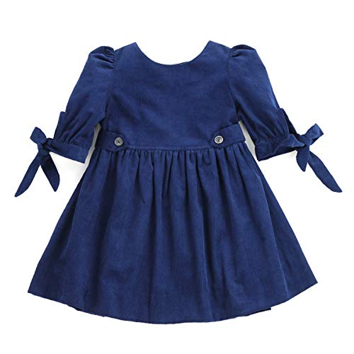 THE SILLY SISSY - Toddlers Girls Winter Thistle Tie-Sleeve Corduroy Dress (Navy Blue, -