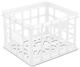 Sterilite 16928006 Storage Crate, White, 6-Pack