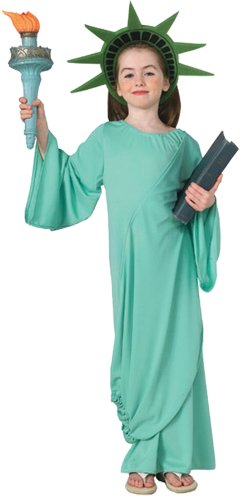 Girls Patriotic Statue Of Liberty Kids Child Fancy Dress Party Halloween Costume, M (8-10)]()