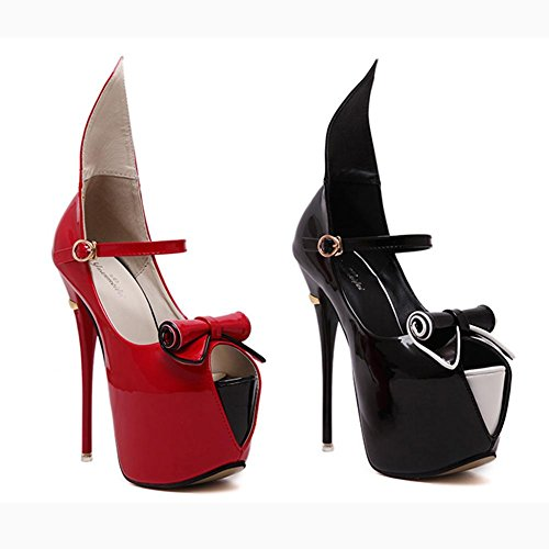 L@YC Frauen High Heels 16cm Fisch Kopf Wasserdichte Tisch Tanz Cool Single Schuhe GrößE Black