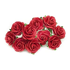 """1"""" Red Paper Flowers Paper Rose Artificial Flowers Fake Flowers Artificial Roses Paper Craft Flowers Paper Rose Flower Mulberry Paper Flowers, 20 Pieces 20"""
