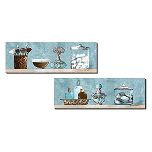 Interior Blue And Brown Bathroom blue and brown bathroom decor amazon com lovely makeup brush cotton ball perfume soap shelf scene panels 2 18x6 unframed paper posters bluebrown