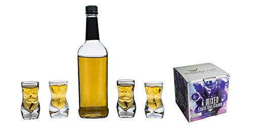 Dopecha Shot Glass Set Four 4 Piece 2 Male 2 Female Shaped Glasses 1.5 oz ouce 45 ml