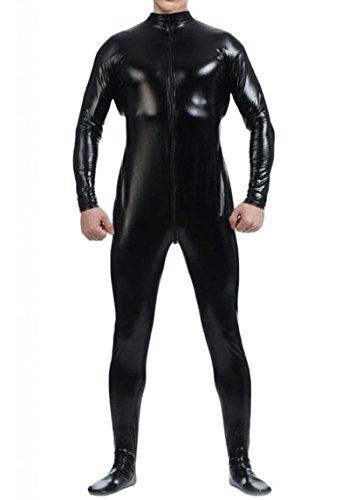 WOLF UNITARD Men's Shiny Metallic Unitard Bodysuits X-Large Black (Shiny Black Bodysuit)