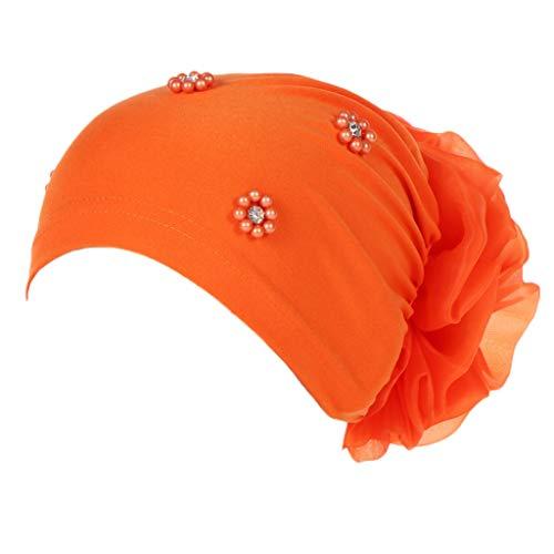 Unisex Summer Elastic Pearl Muslim Headwrap Cap Breathable Foldable Hair Lose Cancer Sunshade Visor Sunhat Cap (Orange 【Type:D】)