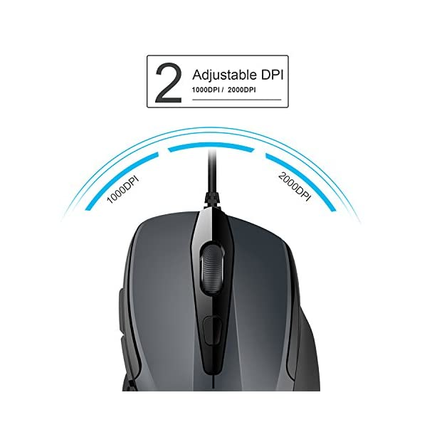 TECKNET 6-Button USB Wired Mouse with Side Buttons, Optical Computer Mouse with 1000/2000DPI, Ergonomic Design, 5ft Cord…