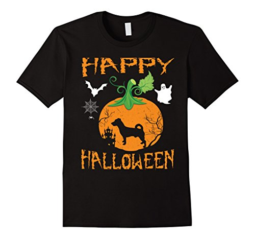 Mens JACK RUSSELL TERRIER Dog In Pumpkin Happy Halloween T-Shirt XL Black (Halloween Jack Russell)