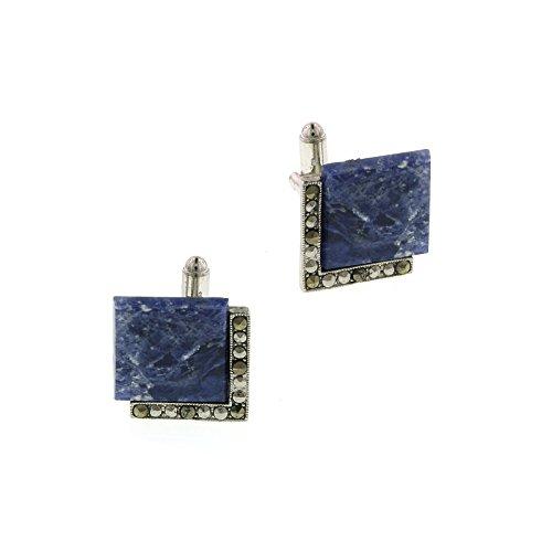 - 1928 Jewelry Unisex Silver Tone Lapis Square Cuff Links