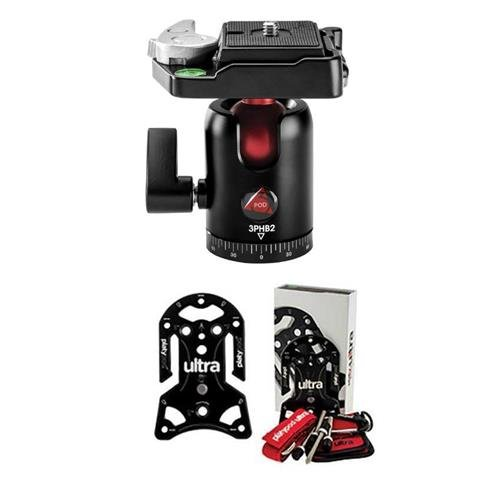 Platypod Ultra Plate Camera Support - with 3Pod B2 B Series Single Lever Travel Ball Head