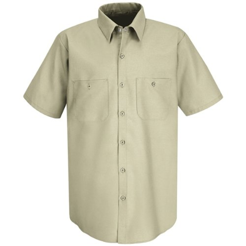 Red Kap Men's Industrial Short-Sleeve Work Shirt,Light Tan, Medium