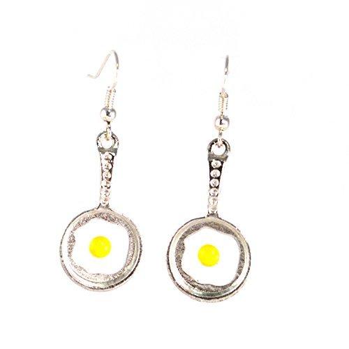 Fried Egg Charm Earrings Breakfast in a Pan on Silver Plated Hooks