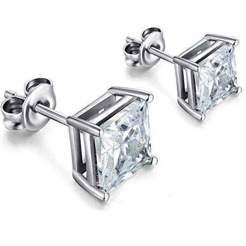 Princess Cut Square Cubic Zirconia Stud Earrings 925 Sterling Silver Stud Earrings 5-8mm Available Fake Diamond Stud Earrings